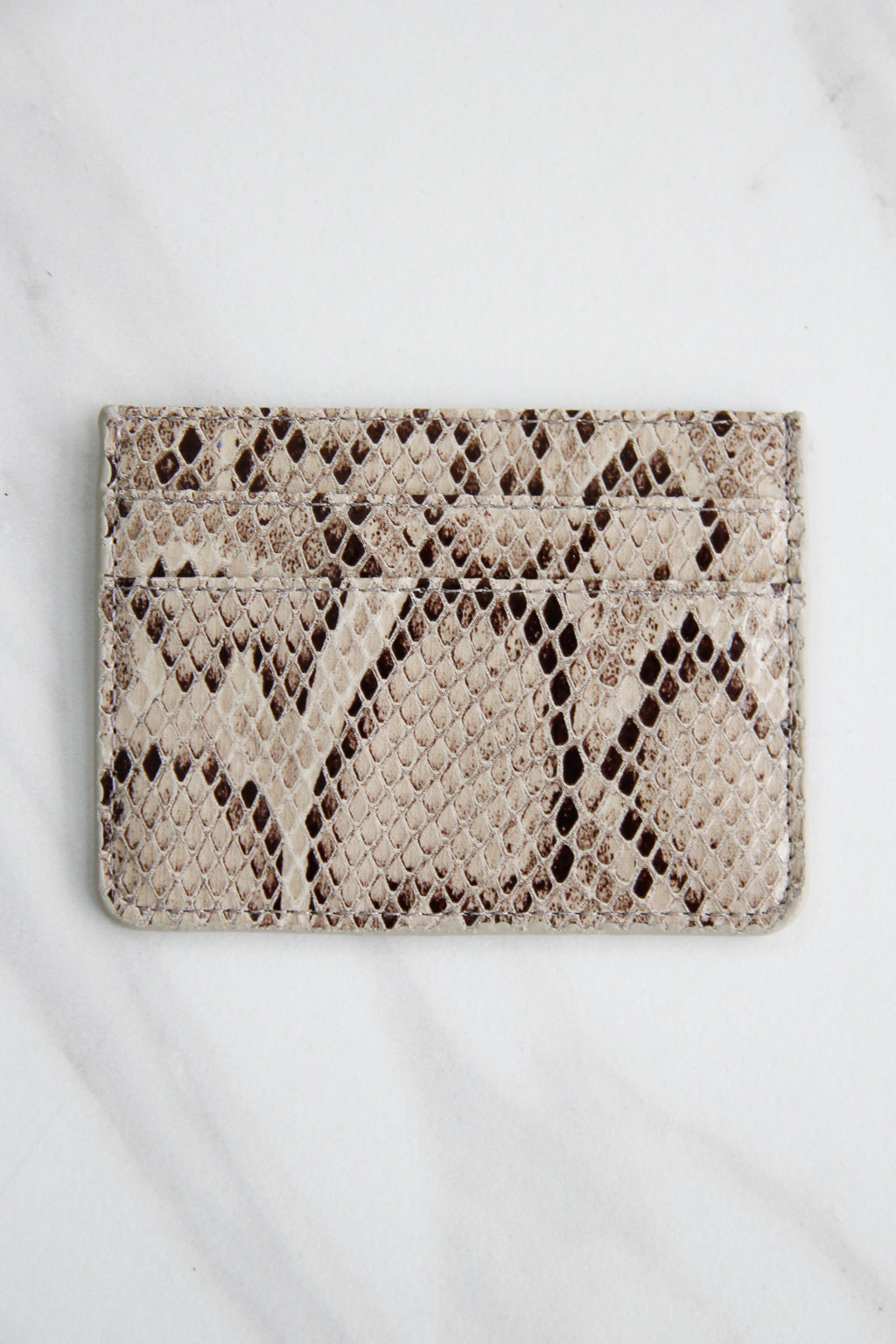 Snakeskin Three Fold Wallet - Light Grey