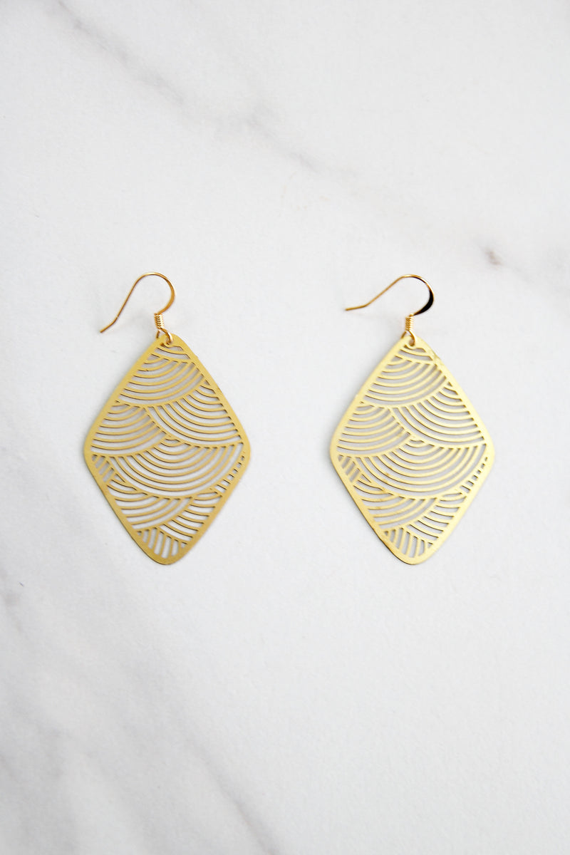 Dainty Golden Waves Earrings