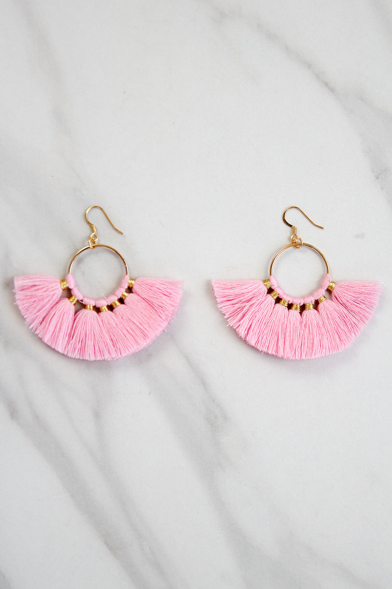 Small Fanfare Earrings - Pink