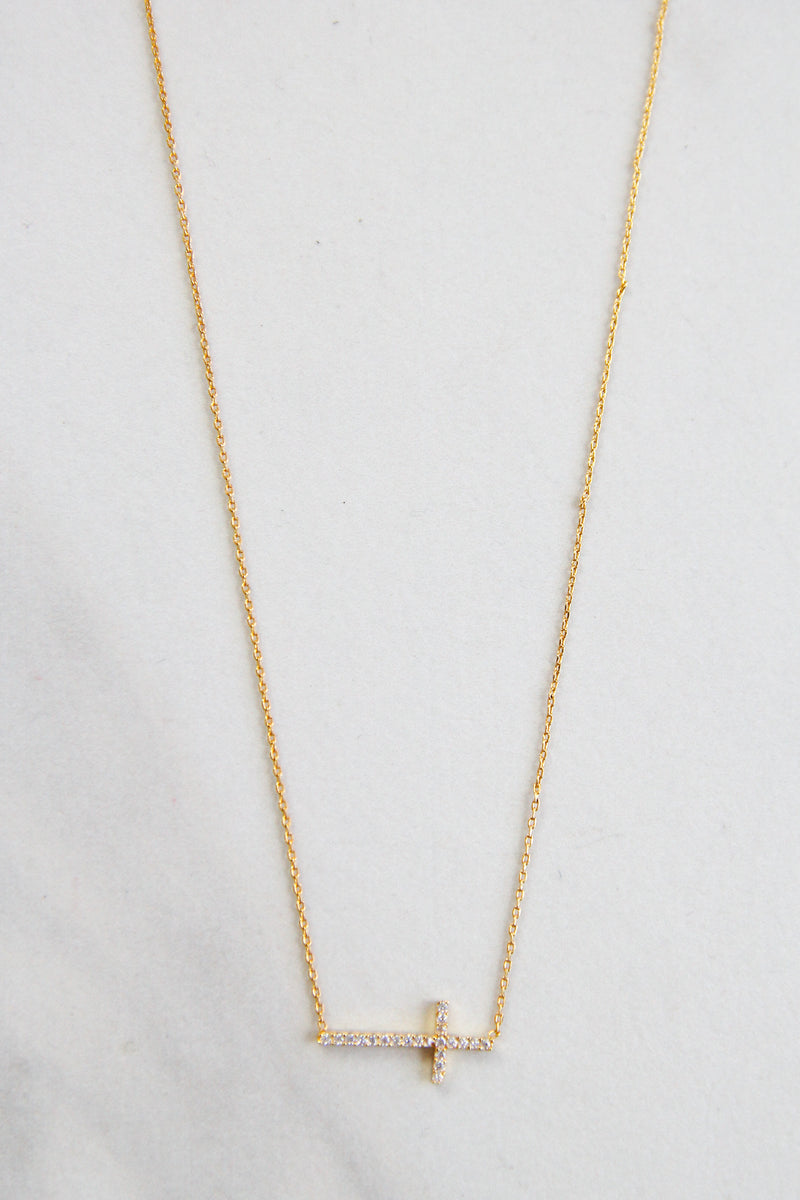 Delicate Long Cross Necklace - Gold