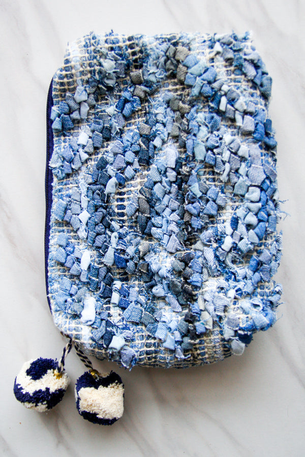 Large Jasmine Makeup Bag- Blue