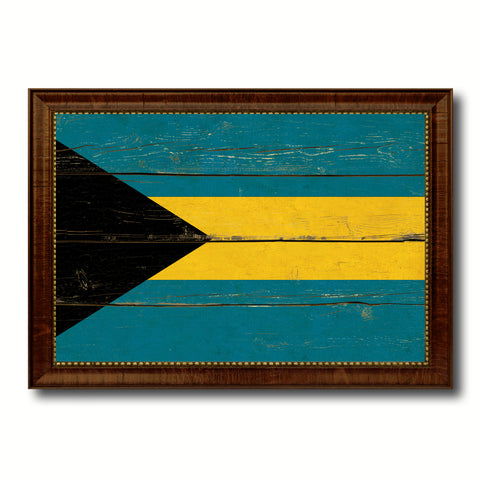 Bahama Country Flag Vintage Canvas Print with Brown Picture Frame Home Decor Gifts Wall Art Decoration Artwork