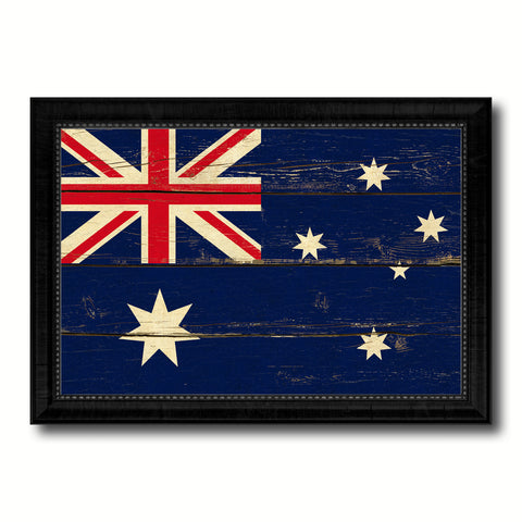 Australia Country Flag Vintage Canvas Print with Black Picture Frame Home Decor Gifts Wall Art Decoration Artwork