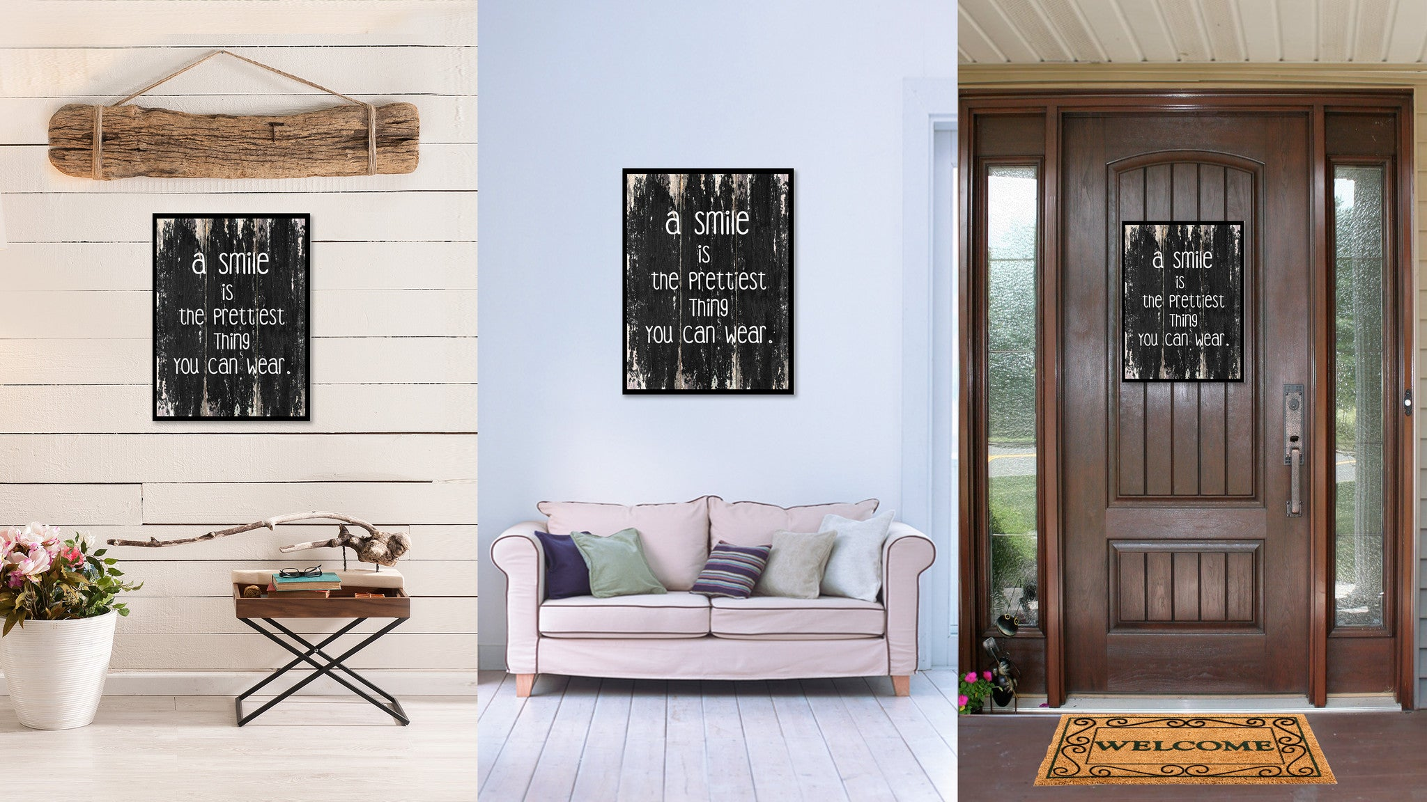 A smile is the prettiest thing you can wear Motivational Quote Saying Canvas Print with Picture Frame Home Decor Wall Art