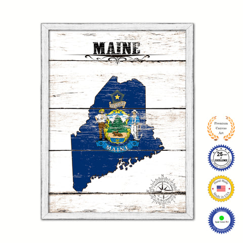 Maine Flag Gifts Home Decor Wall Art Canvas Print with Custom Picture Frame