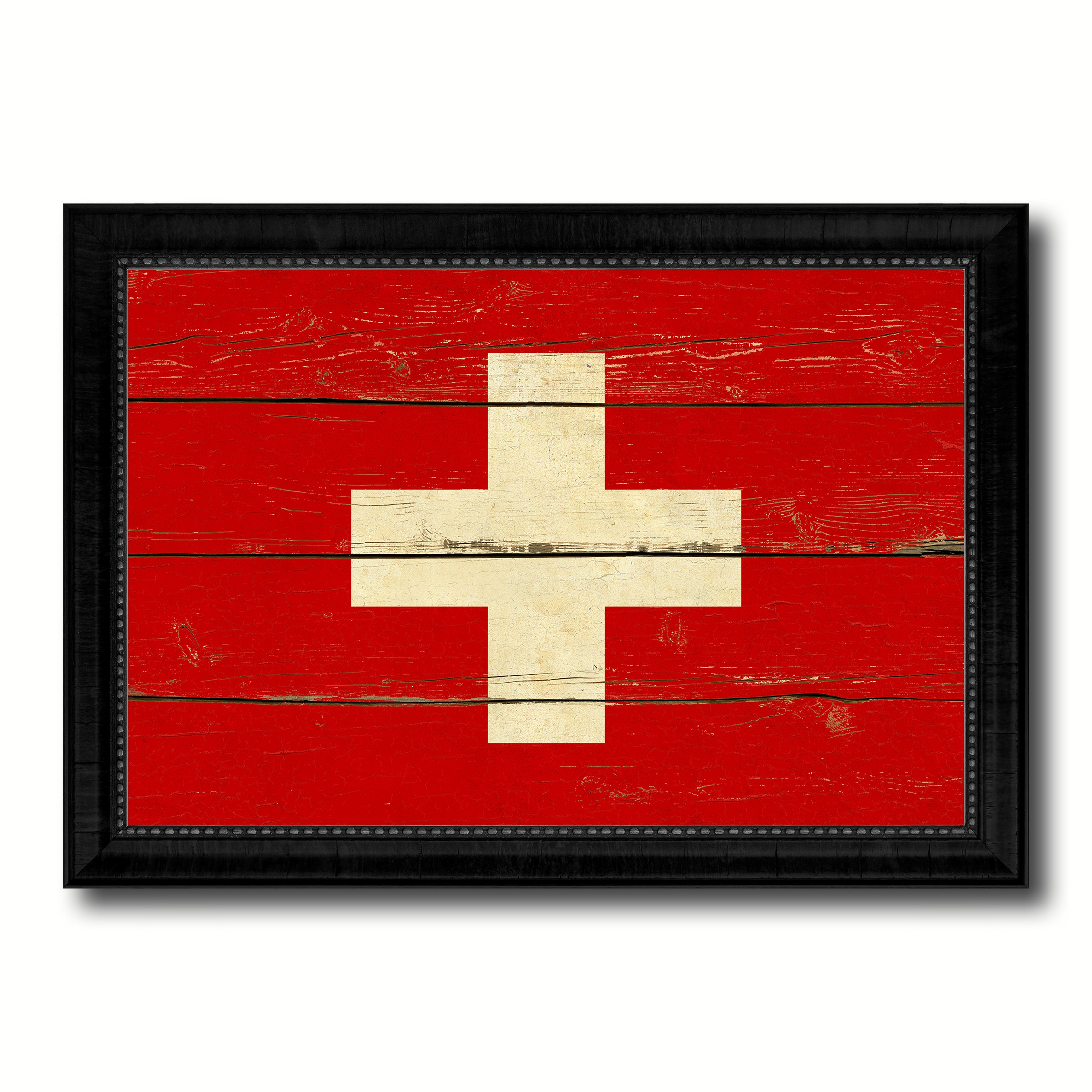 Switzerland Country Flag Vintage Canvas Print with Black Picture Frame Home Decor Gifts Wall Art Decoration Artwork