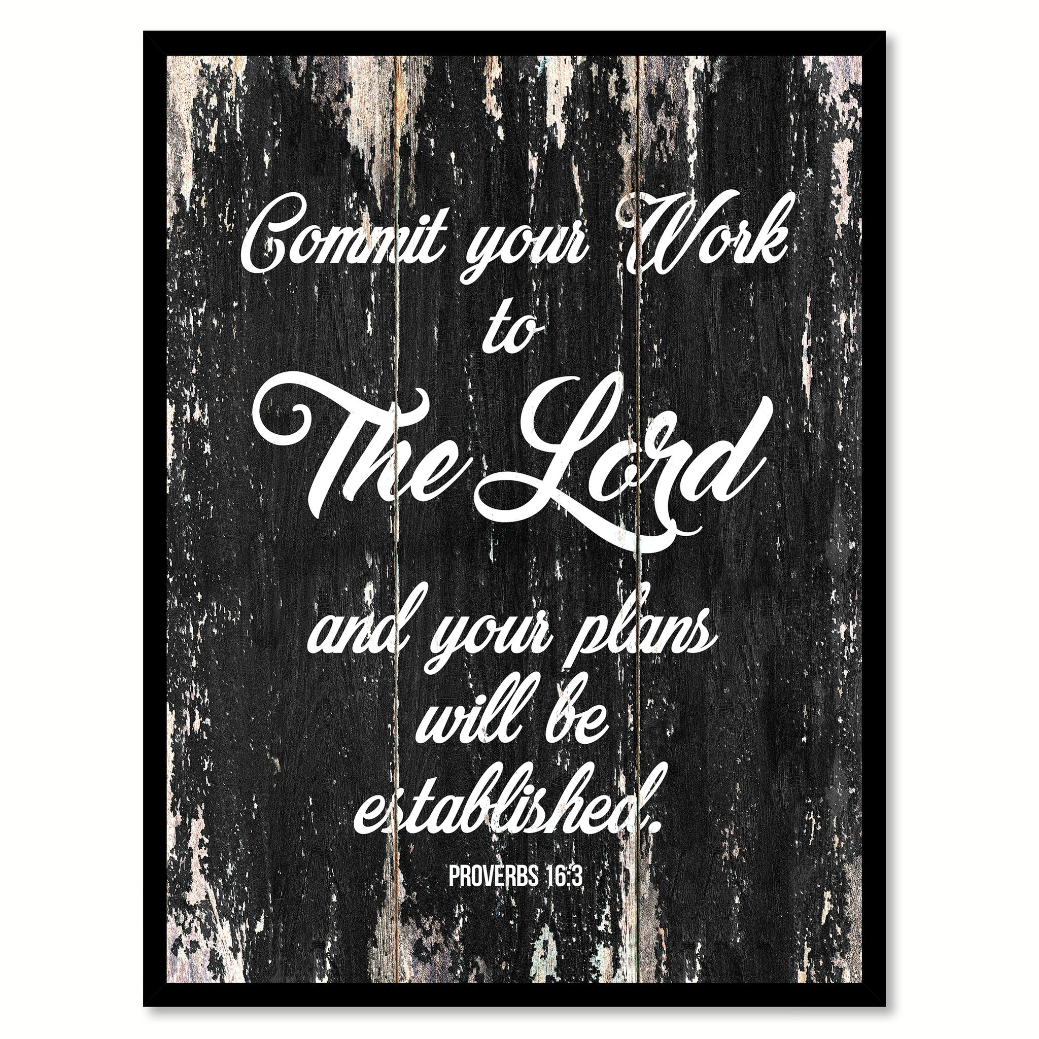 Commit your work to the lord & your plans will be established Proverbs 16-3 Quote Saying Canvas Print with Picture Frame Home Decor Wall Art