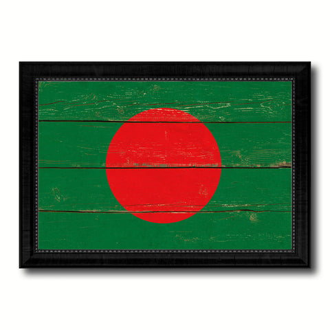 Bangladesh Country Flag Vintage Canvas Print with Black Picture Frame Home Decor Gifts Wall Art Decoration Artwork