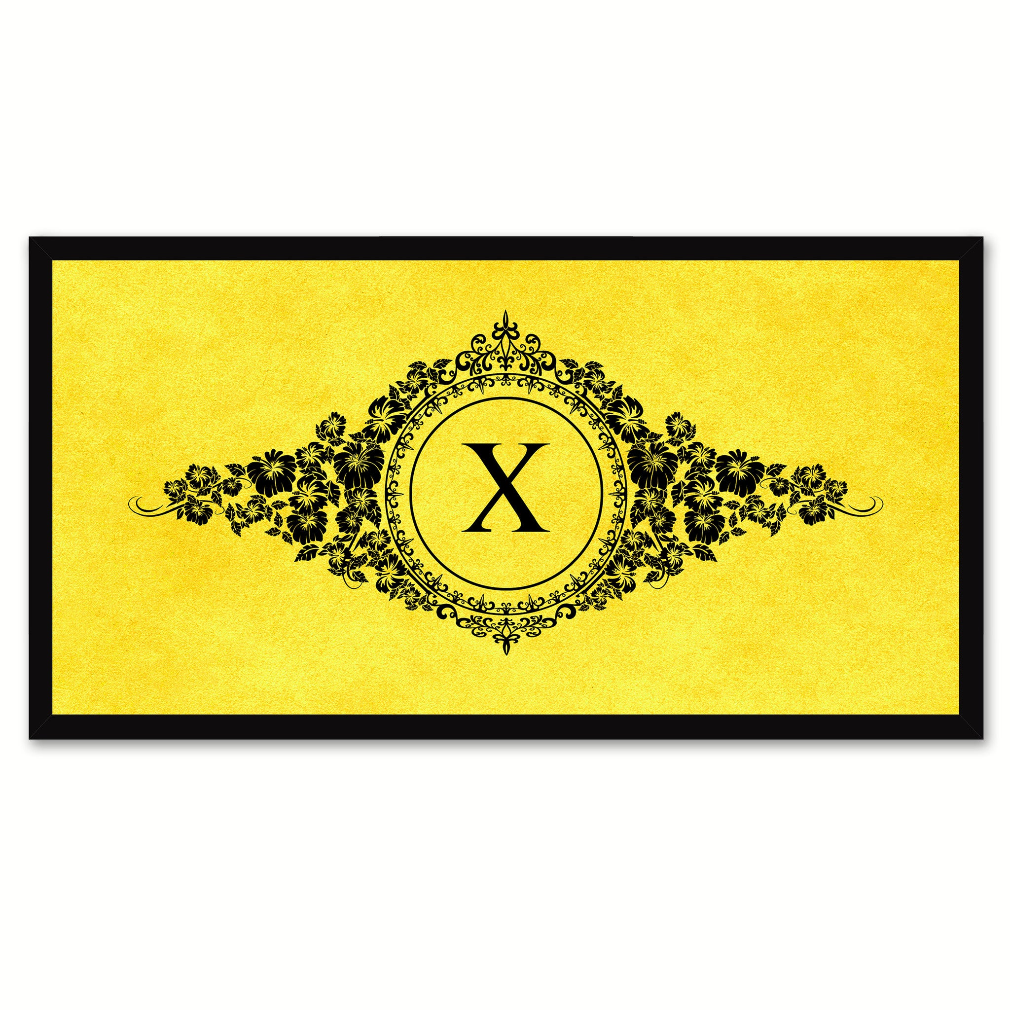 Alphabet Letter X Yellow Canvas Print, Black Custom Frame