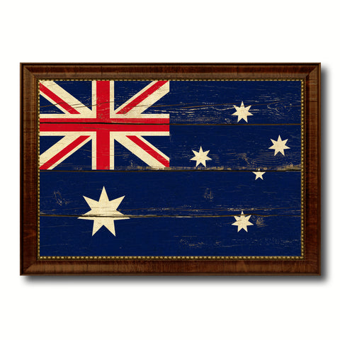Australia Country Flag Vintage Canvas Print with Brown Picture Frame Home Decor Gifts Wall Art Decoration Artwork