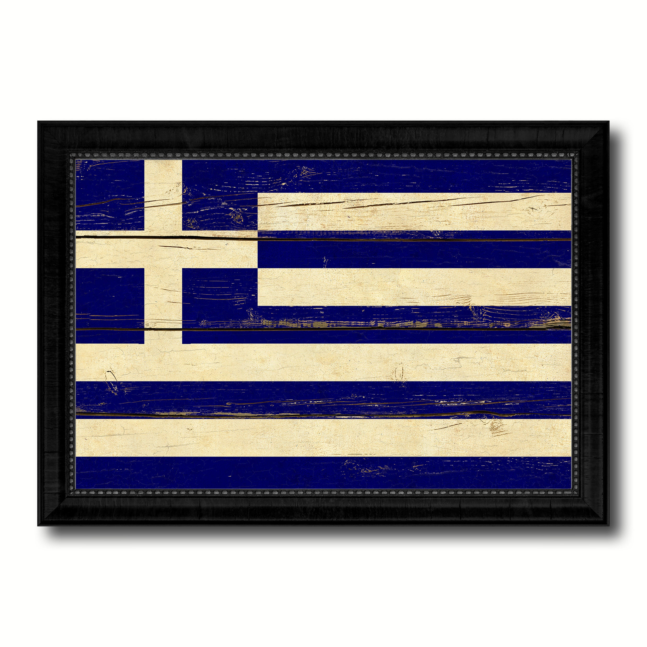 Greece Country Flag Vintage Canvas Print with Black Picture Frame Home Decor Gifts Wall Art Decoration Artwork