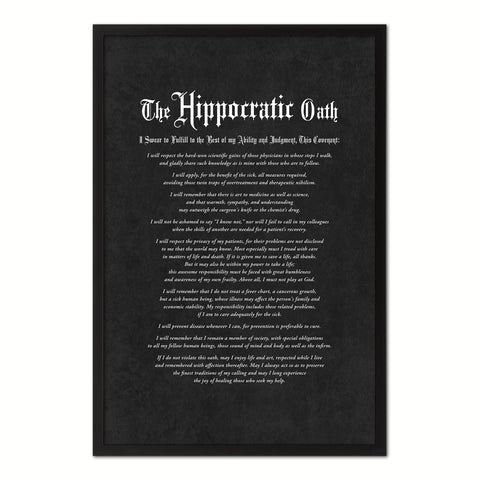 Geneva Medical Oath, Hippocratic Oath, Medical Gifts, Gift for Doctor, Medical Decor, Medical Student, Office Decor, doctor office, Black Frame