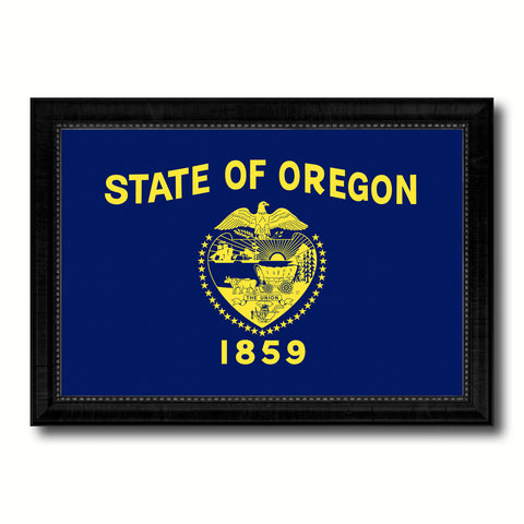 Oregon State Flag Canvas Print with Custom Black Picture Frame Home Decor Wall Art Decoration Gifts