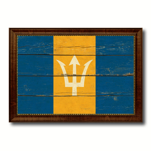 Barbados Country Flag Vintage Canvas Print with Brown Picture Frame Home Decor Gifts Wall Art Decoration Artwork