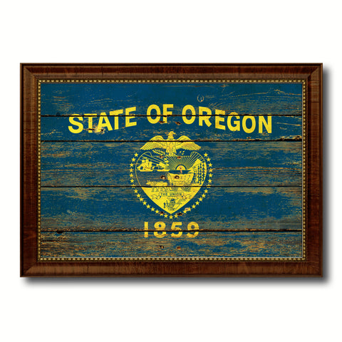 Oregon State Vintage Flag Canvas Print with Brown Picture Frame Home Decor Man Cave Wall Art Collectible Decoration Artwork Gifts
