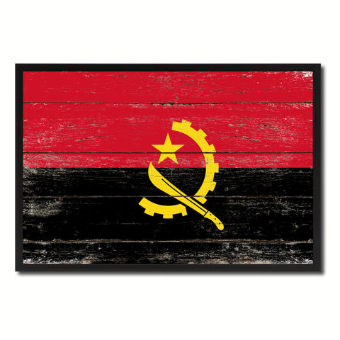 Angola Country National Flag Vintage Canvas Print with Picture Frame Home Decor Wall Art Collection Gift Ideas
