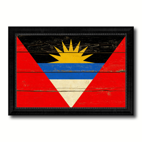 Antigua Barbuda Country Flag Vintage Canvas Print with Black Picture Frame Home Decor Gifts Wall Art Decoration Artwork