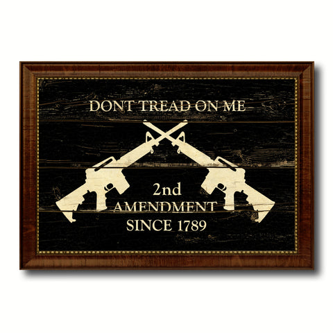 2nd Amendment Dont Tread On Me M4 Rifle Military Vintage Flag Brown Picture Frame Gifts Ideas Home Decor Wall Art