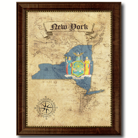 New York State Vintage Map Home Decor Wall Art Office Decoration Gift Ideas