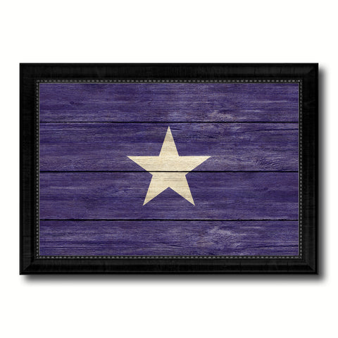 Bonnie Blue in Republic of West Florida Military Flag Texture Canvas Print with Black Picture Frame Gift Ideas Home Decor Wall Art