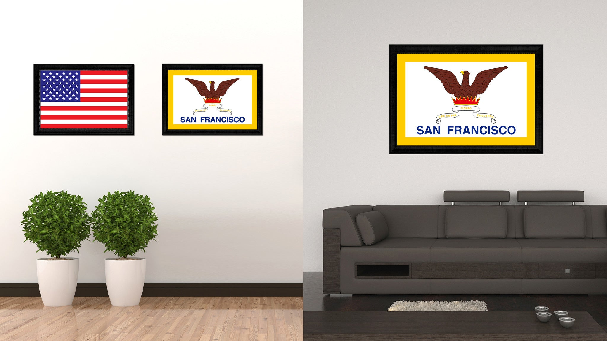 San Francisco City San Francisco State Flag Canvas Print Black Picture Frame