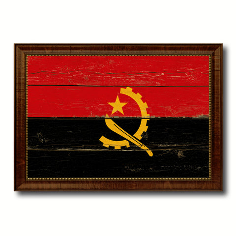 Angola Country Flag Vintage Canvas Print with Brown Picture Frame Home Decor Gifts Wall Art Decoration Artwork