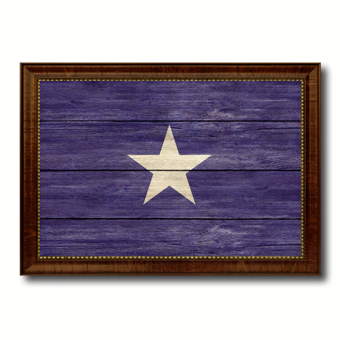 Bonnie Blue in Republic of West Florida Military Flag Texture Canvas Print with Brown Picture Frame Home Decor Wall Art Gifts