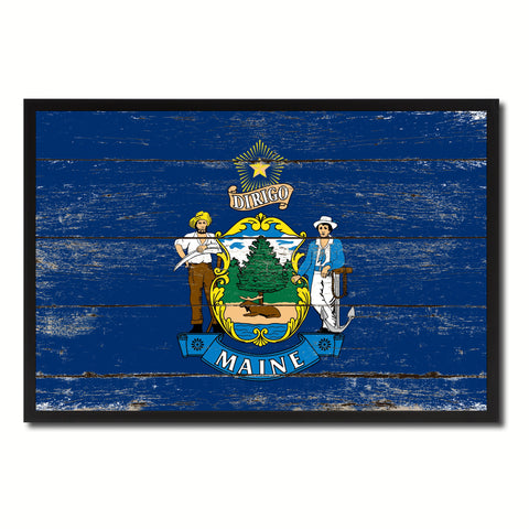 Maine State Flag Vintage Canvas Print with Black Picture Frame Home DecorWall Art Collectible Decoration Artwork Gifts