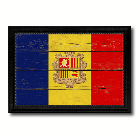 Andorra Country Flag Vintage Canvas Print with Black Picture Frame Home Decor Gifts Wall Art Decoration Artwork