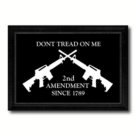 2nd Amendment Dont Tread On Me M4 Rifle Military Flag Canvas Print Black Picture Frame Gifts Home Decor Wall Art