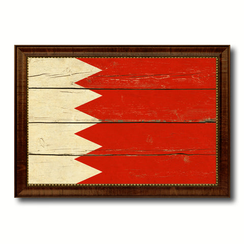 Bahrain Country Flag Vintage Canvas Print with Brown Picture Frame Home Decor Gifts Wall Art Decoration Artwork