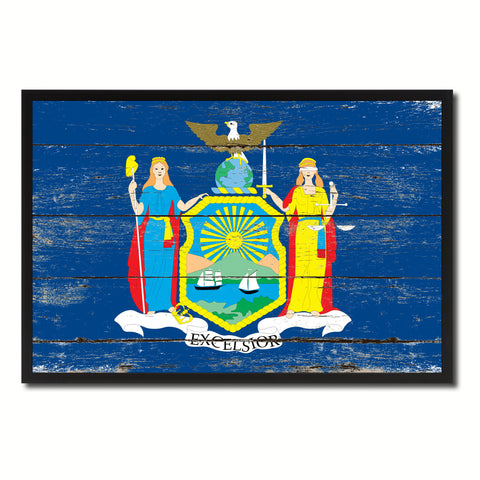 New York State Flag Vintage Canvas Print with Black Picture Frame Home DecorWall Art Collectible Decoration Artwork Gifts