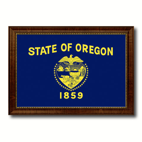Oregon State Flag Canvas Print with Custom Brown Picture Frame Home Decor Wall Art Decoration Gifts