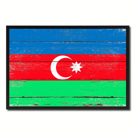 Azerbaijan Country National Flag Vintage Canvas Print with Picture Frame Home Decor Wall Art Collection Gift Ideas