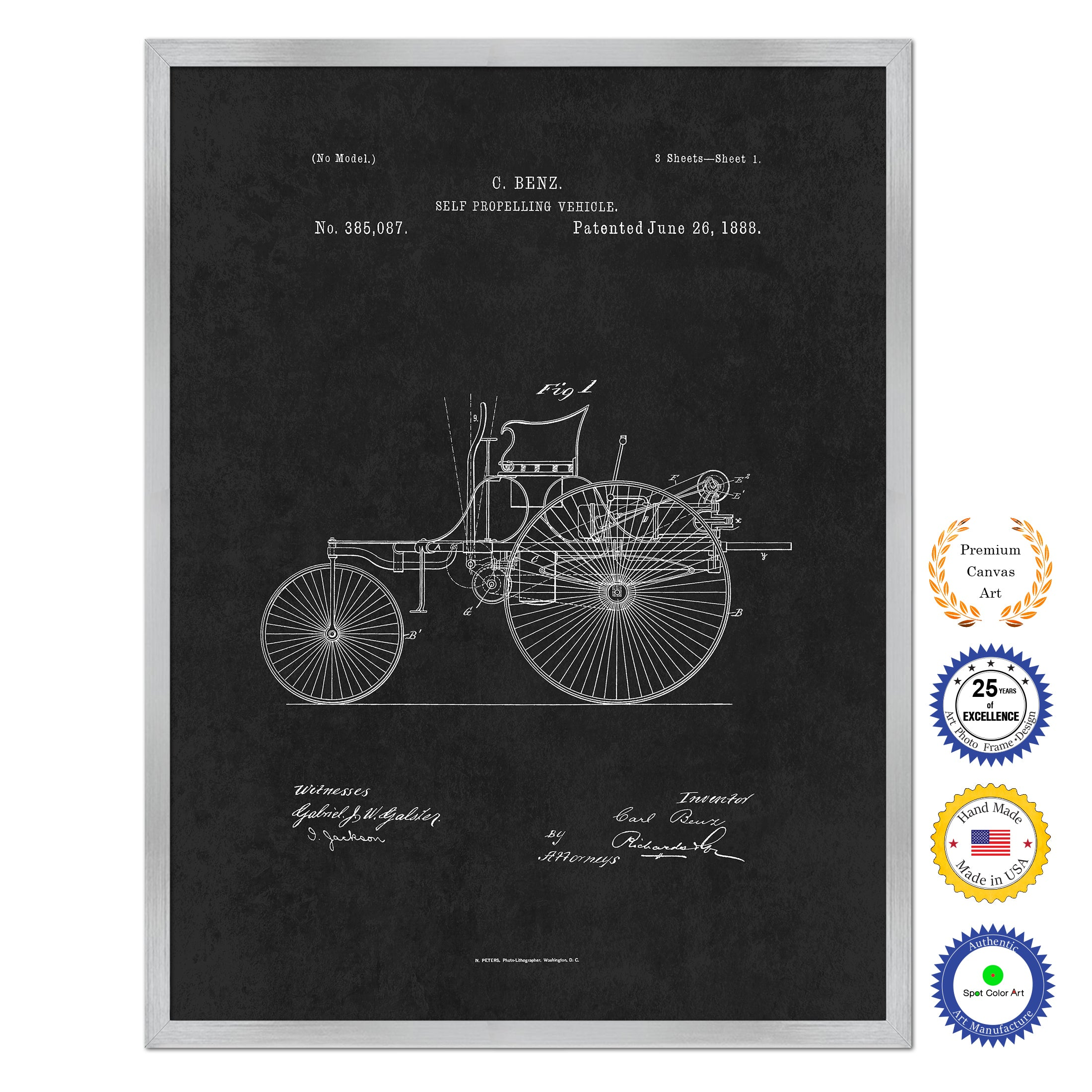 1888 Carl Benz Self Propelling Vehicle Antique Patent Artwork Silver Framed Canvas Home Office Decor Great Gift for Mechanic Car Collector