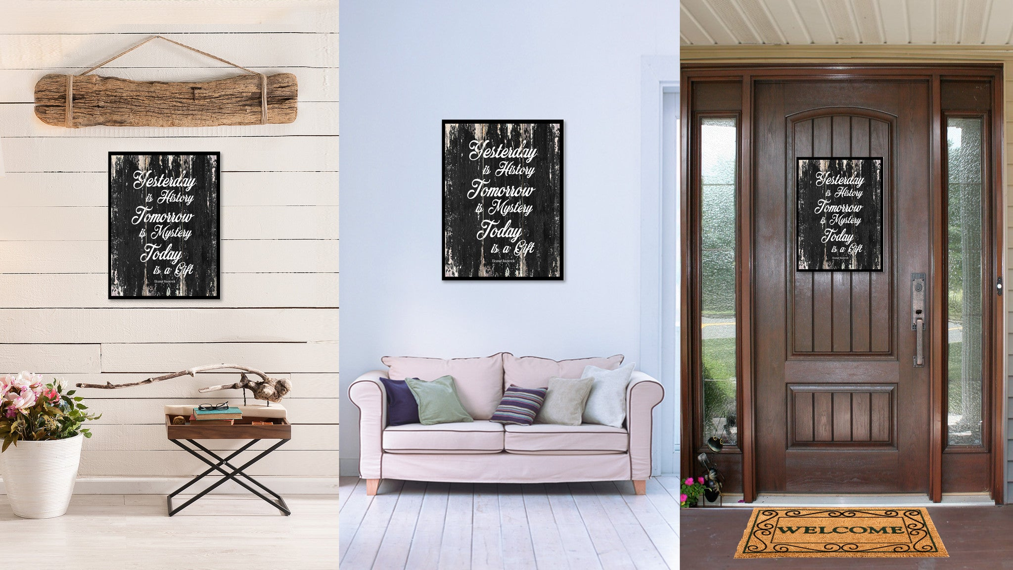 Yesterday is history tomorrow is mystery today is a gift Motivational Quote Saying Canvas Print with Picture Frame Home Decor Wall Art
