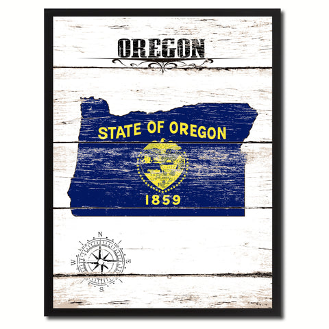 Oregon State Flag Gifts Home Decor Wall Art Canvas Print Picture Frames