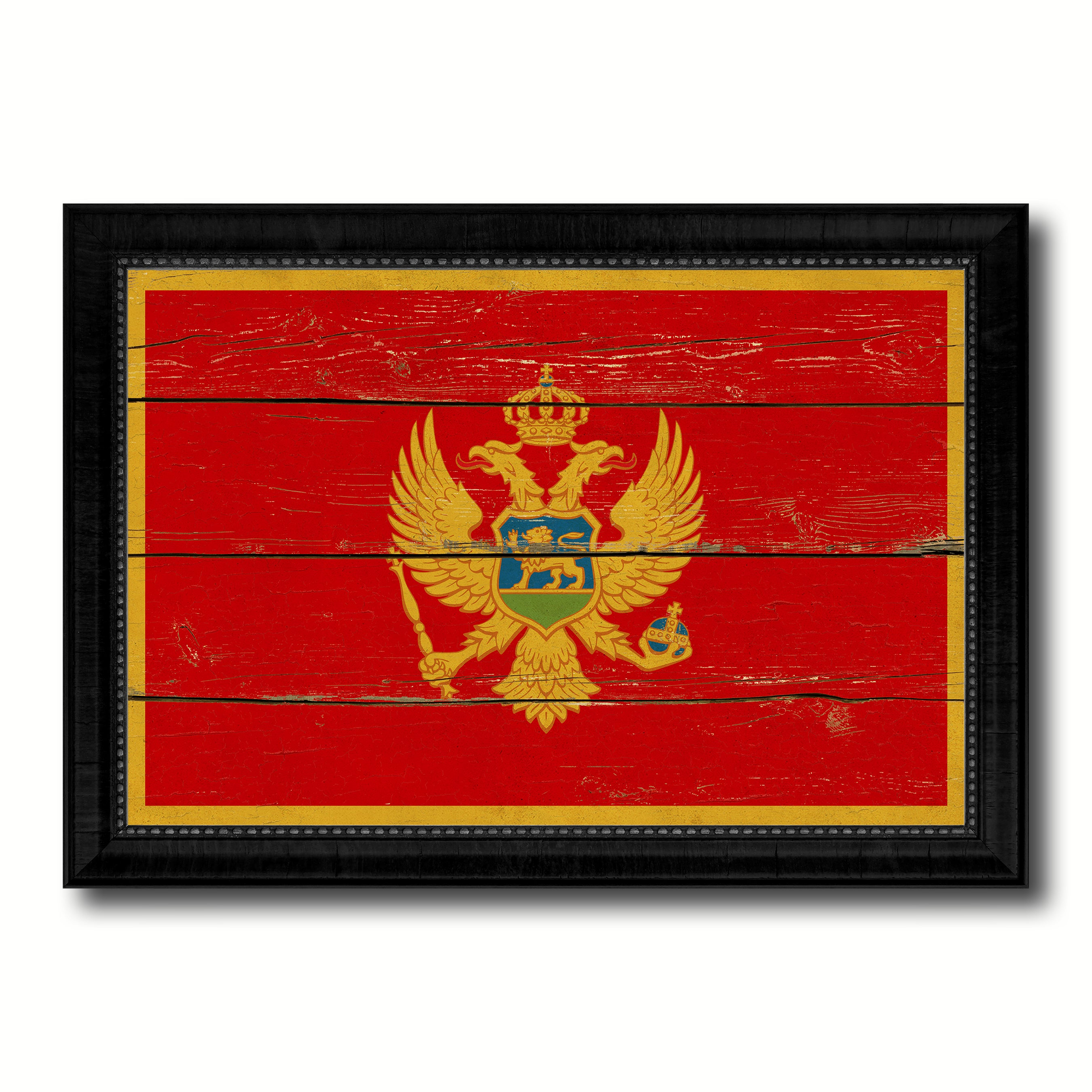 Montenegro Country Flag Vintage Canvas Print with Black Picture Frame Home Decor Gifts Wall Art Decoration Artwork