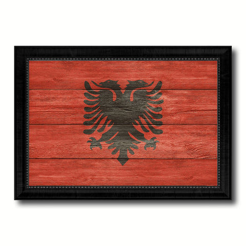 Albania Country Flag Texture Canvas Print with Black Picture Frame Home Decor Wall Art Decoration Collection Gift Ideas