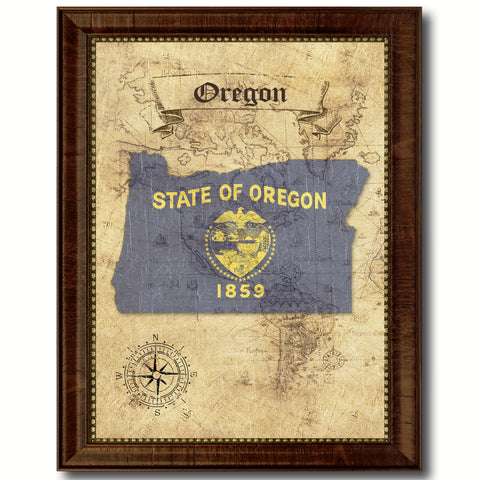 Oregon State Vintage Map Home Decor Wall Art Office Decoration Gift Ideas