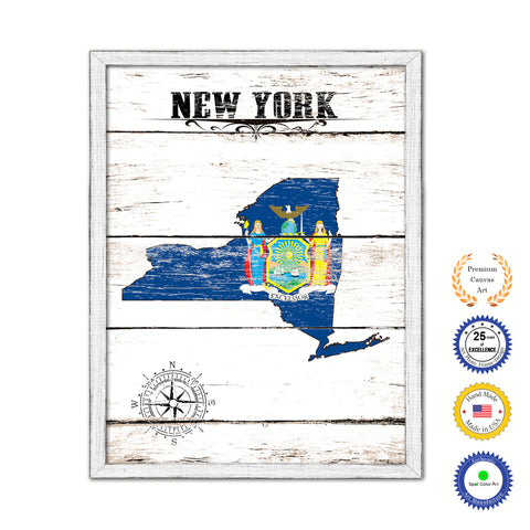 New York Flag Gifts Home Decor Wall Art Canvas Print with Custom Picture Frame
