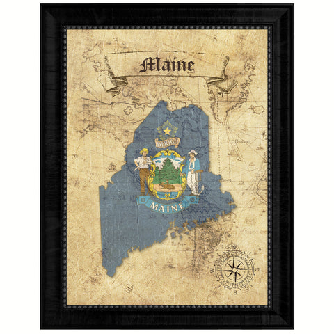 Maine State Vintage Map Gifts Home Decor Wall Art Office Decoration
