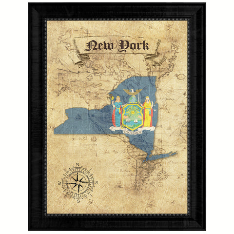 New York State Vintage Map Gifts Home Decor Wall Art Office Decoration
