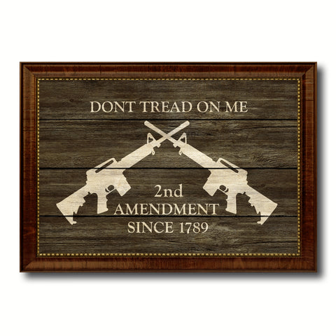 2nd Amendment Dont Tread On Me M4 Rifle Military Flag Texture Canvas Print with Brown Picture Frame Home Decor Wall Art Gifts