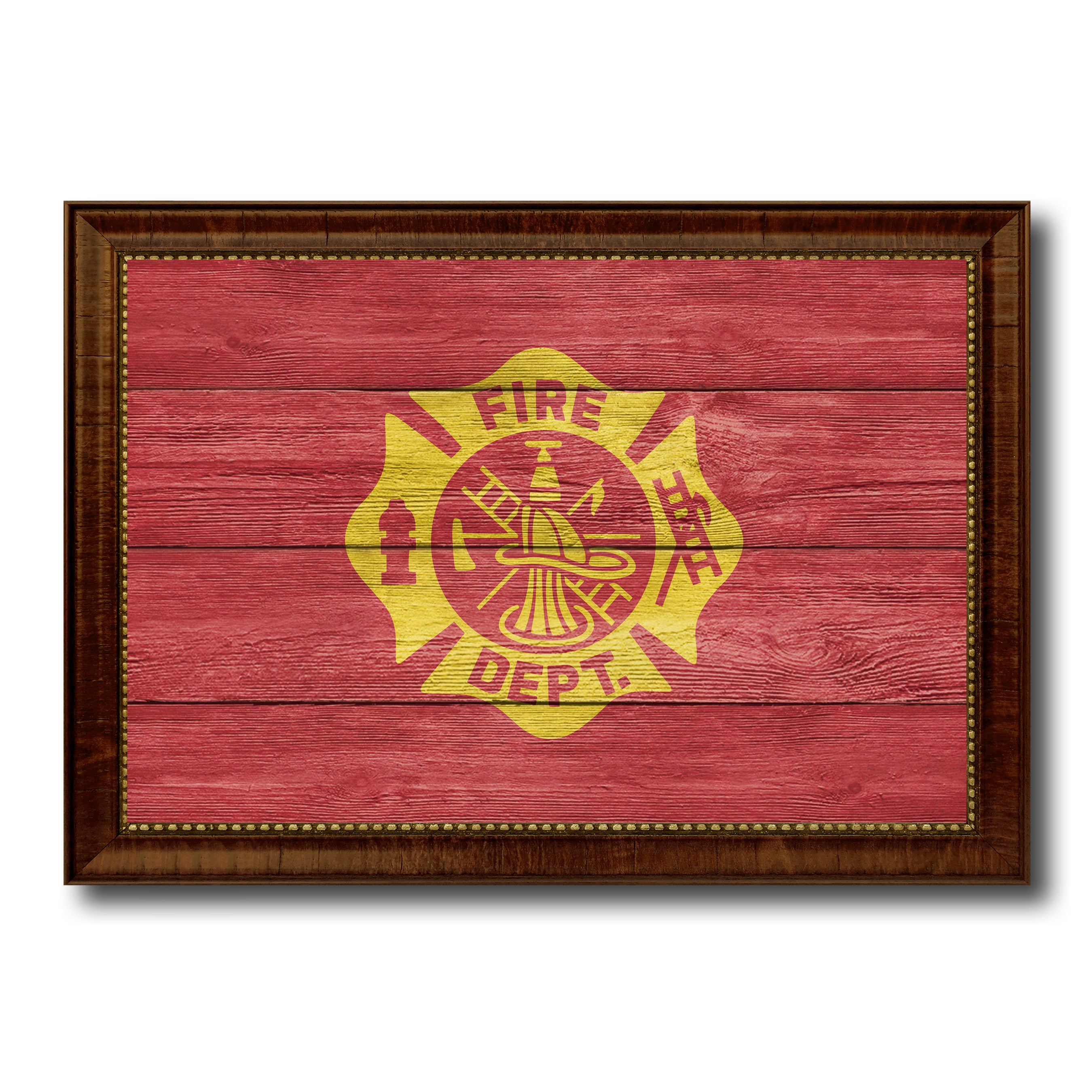 Fire Department Fire Fighter USA Flag Texture Canvas Print with Brown Picture Frame Home Decor Wall Art Gifts