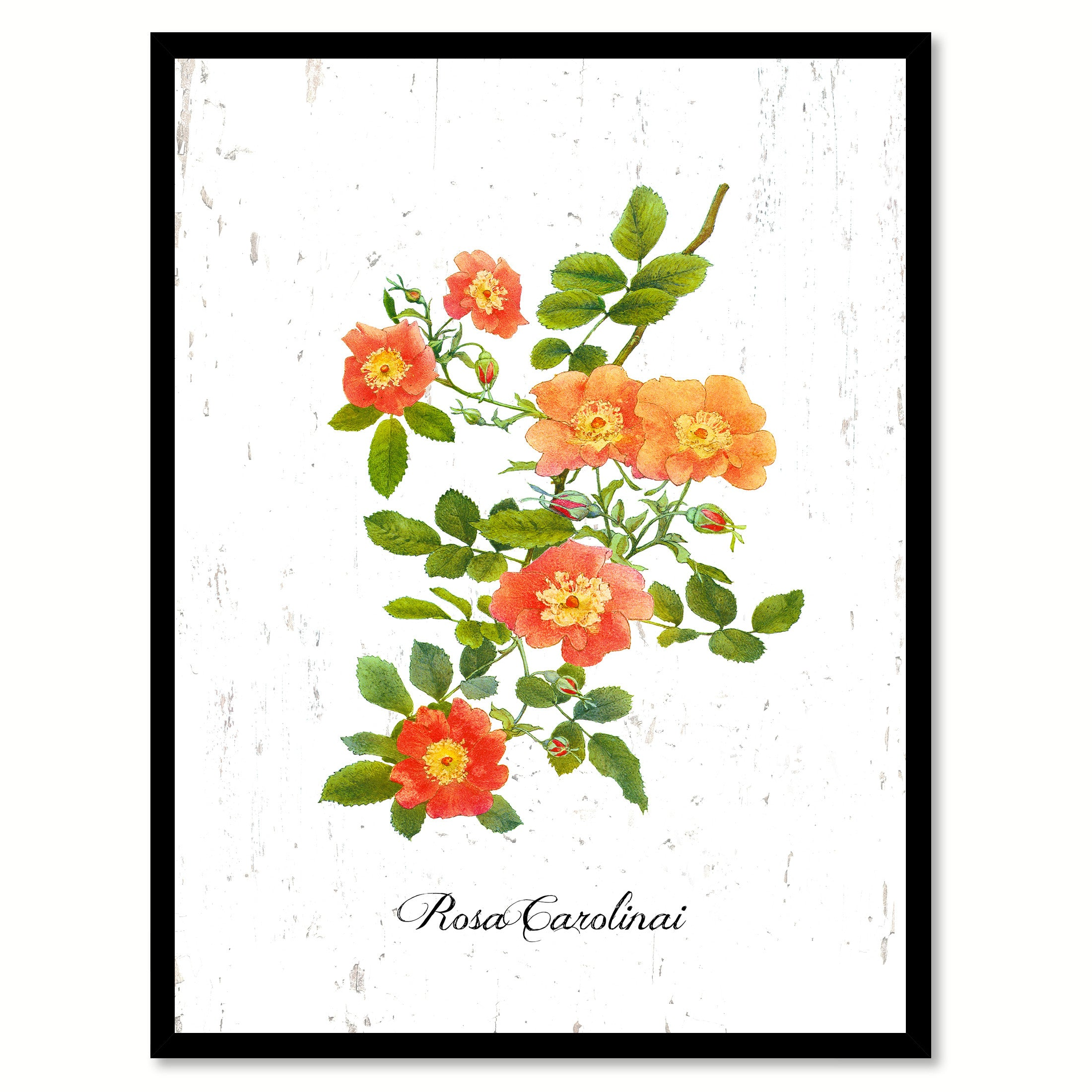 Orange Rose Flower Canvas Print with Picture Frame Floral Home Decor Wall Art Living Room Decoration Gifts