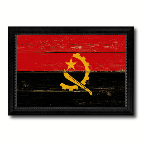 Angola Country Flag Vintage Canvas Print with Black Picture Frame Home Decor Gifts Wall Art Decoration Artwork