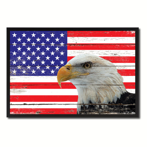 American Eagle USA Flag Vintage Canvas Print with Picture Frame Home Decor Man Cave Wall Art Collectible Decoration Artwork Gifts