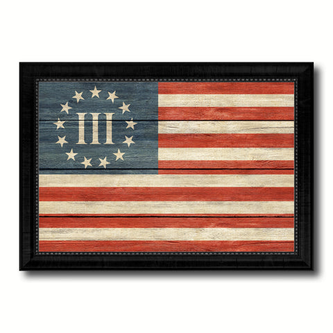 3 Percent Betsy Ross Nyberg Battle III Revolutionary War Military Flag Texture Canvas Print with Black Picture Frame Gift Ideas Home Decor Wall Art