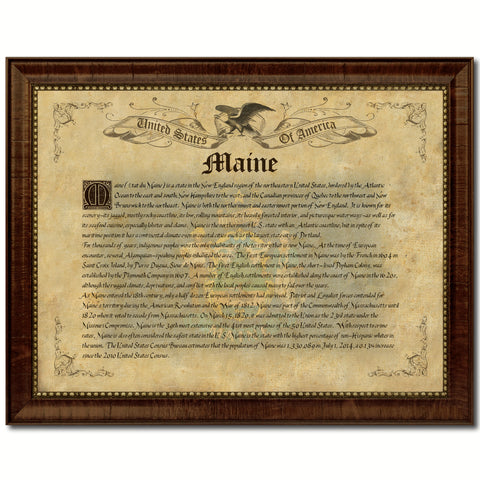 Maine Vintage History Flag Canvas Print, Picture Frame Gift Ideas Home Décor Wall Art Decoration